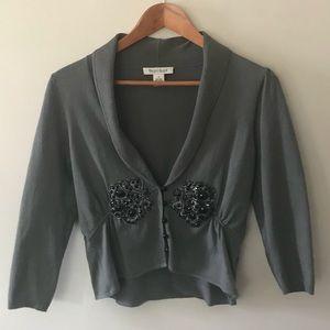 WHBM Silk Blend Cropped Embellished Cardigan